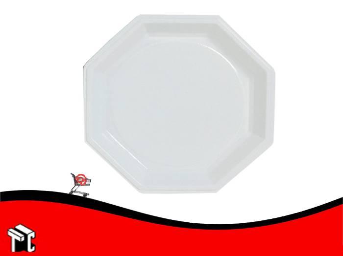 Plato Plastico Octogonal 17 Cm Blanco X Unidad