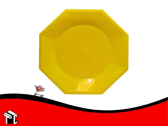 Plato Plastico Octogonal 17 Cm Amarillo X Unidad