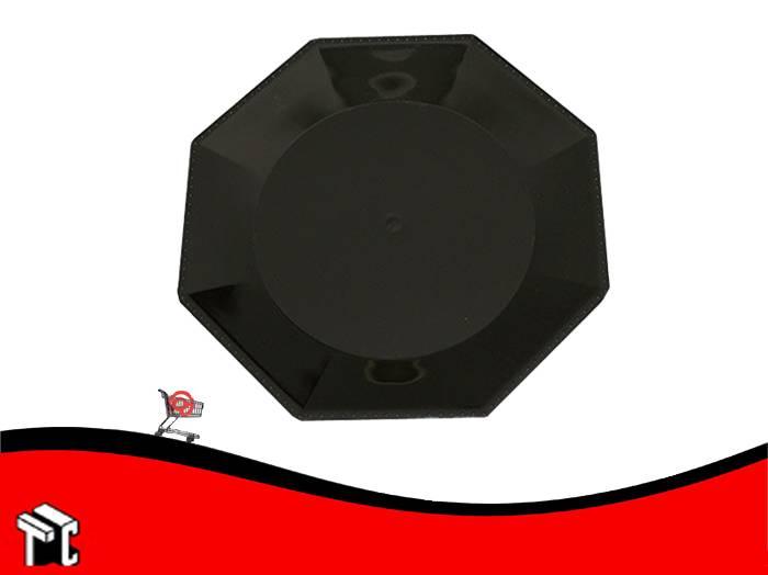 Plato Plastico Octogonal 17 Cm Negro X Unidad