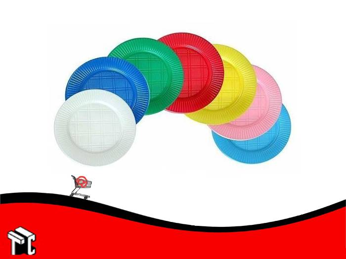 Plato Plastico 22 Cm Dixie Rojo X 50 Unidades