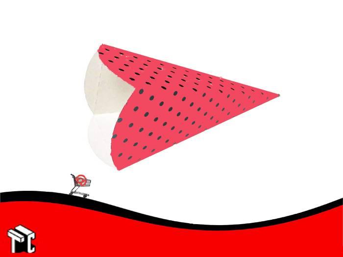 Cono Cotillon Rojo Lunares Negros X10 Unidades