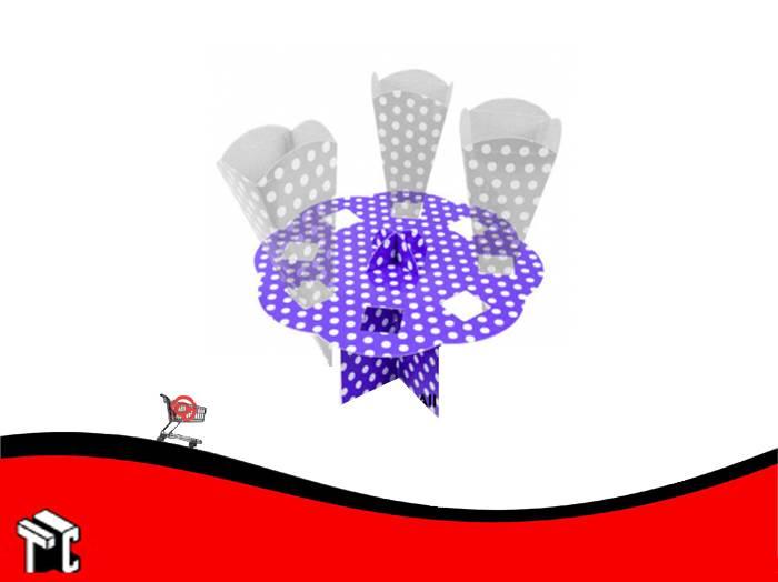 Porta Cono Violeta Lunares Blancos X Unidad