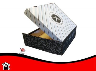 Caja Microcorrugada Blanca/marron Para Torta Personalizada