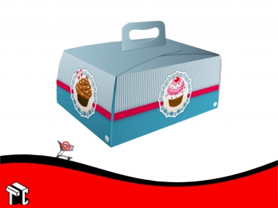 Caja Cupcake X6 Blue Con Porta Cupcake X10 Unidades