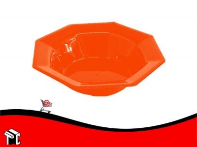 Bowl Plastico Octogonal 15 Cm Rojo X Unidad