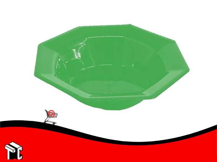 Bowl Plastico Octogonal 15 Cm Verde X Unidad