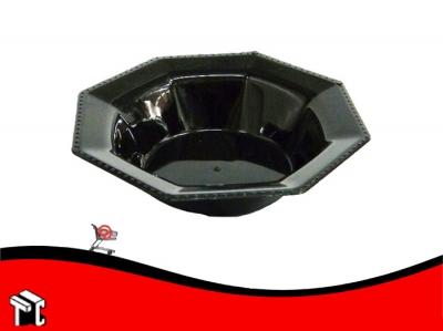 Bowl Plastico Octogonal 15 Cm Negro X Unidad