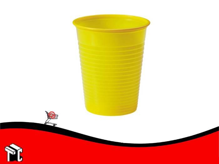 Vaso Plástico 180  Cm3 Amarillo × 100 Unidades