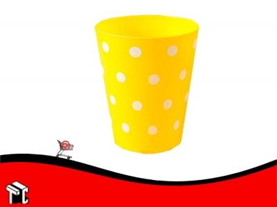 Vaso Conico 180 Cc Pp Lunares Blancos Amarillo X 15 Ud