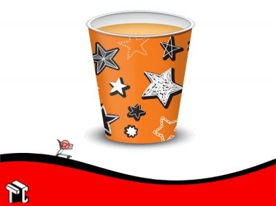 Vaso Polipapel 08 Oz Naranja Stars X 50 Unidades
